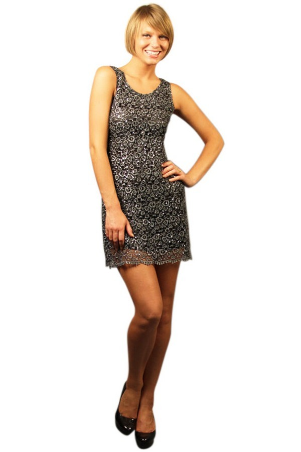 Lily Boutique Glitzy Web Textured Overlay Dress In Grey Lily Boutique